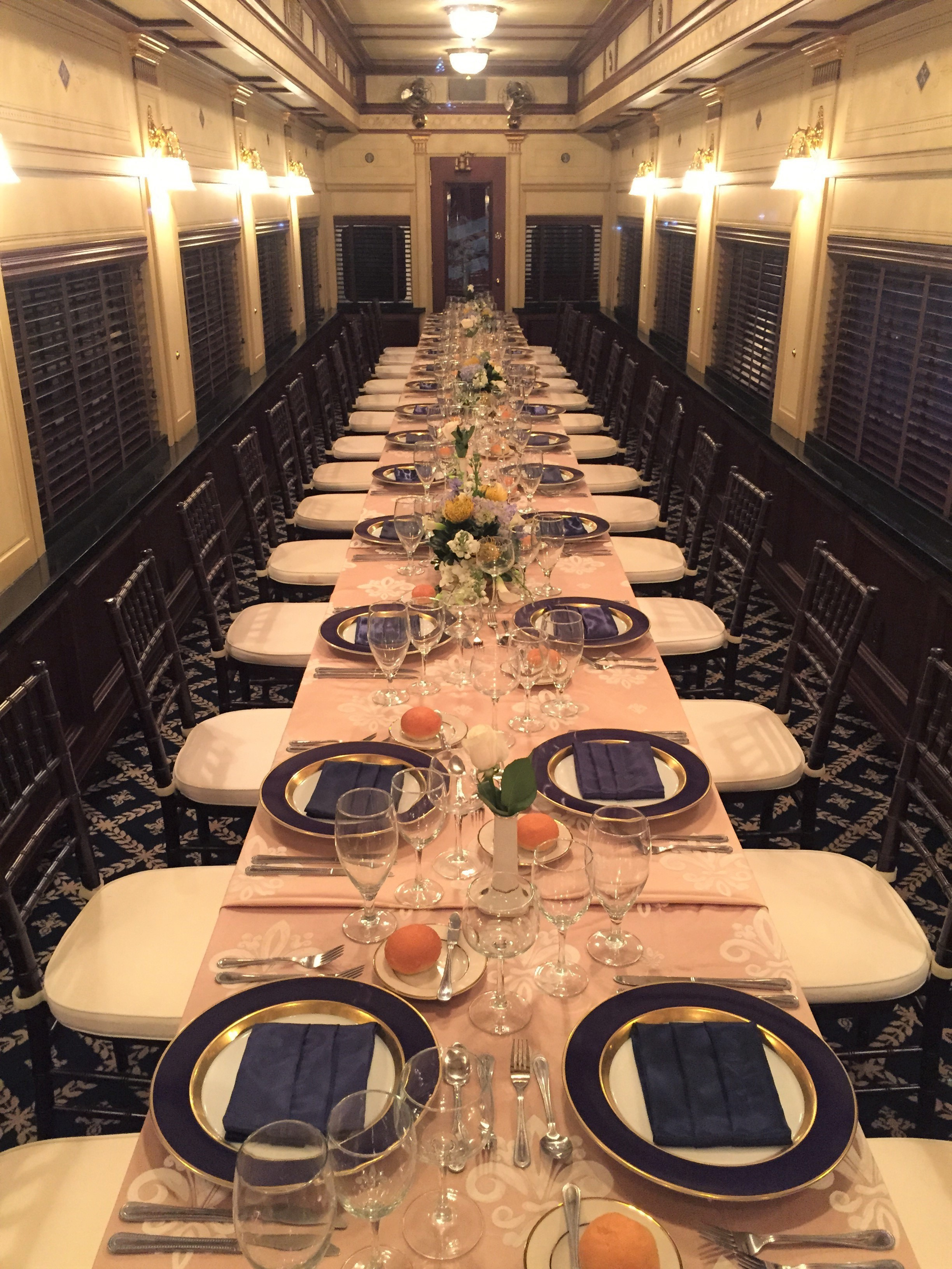 Dining table in railcar